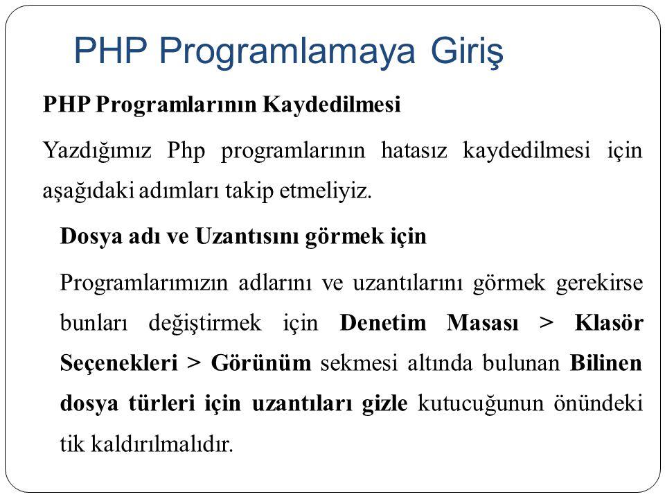 PHP Programlarının Kaydedilmesi Yazdığımız Php programlarının hatasız kaydedilmesi için aşağıdaki adımları takip etmeliyiz. Dosya adı ve Uzantısını gö