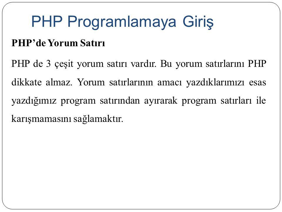 PHP Programlamaya Giriş PHP'de Yorum Satırı PHP de 3 çeşit yorum satırı vardır. Bu yorum satırlarını PHP dikkate almaz. Yorum satırlarının amacı yazdı