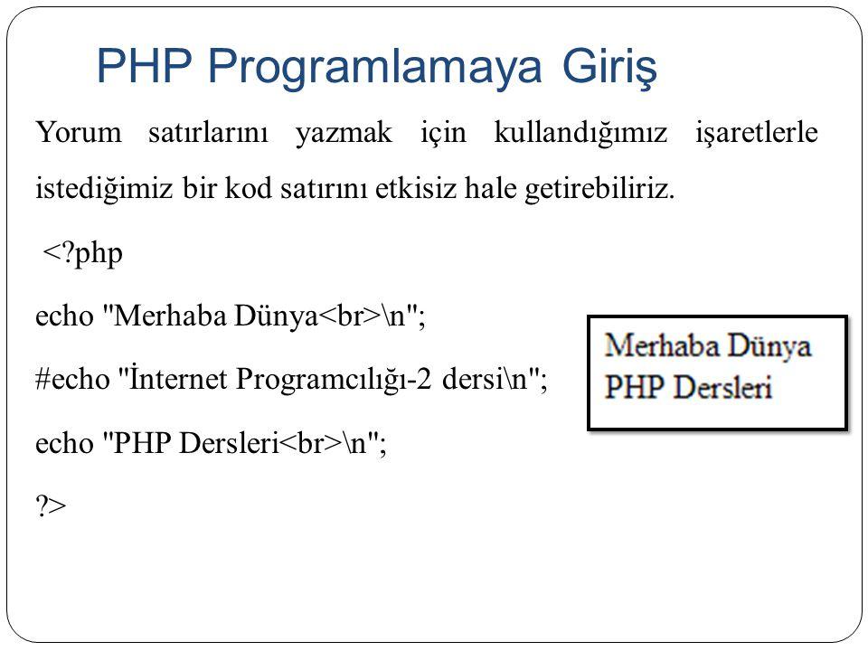 PHP Programlamaya Giriş Yorum satırlarını yazmak için kullandığımız işaretlerle istediğimiz bir kod satırını etkisiz hale getirebiliriz. <?php echo