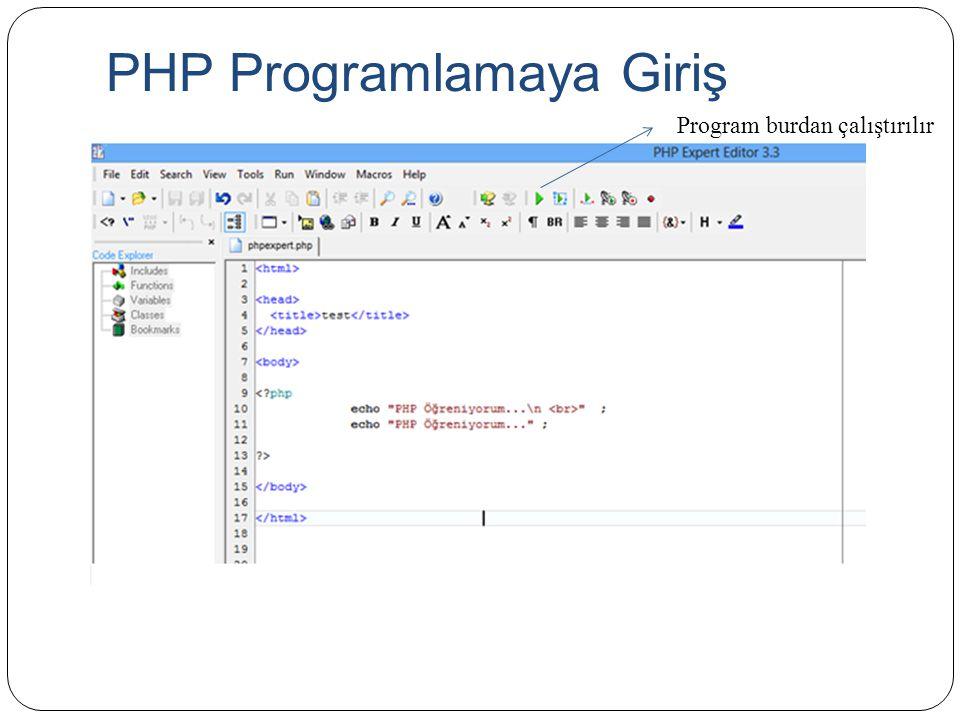 PHP Programlamaya Giriş Program burdan çalıştırılır
