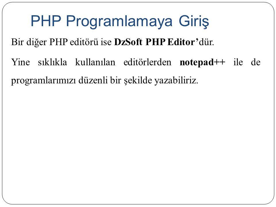 PHP Programlamaya Giriş Bir diğer PHP editörü ise DzSoft PHP Editor'dür. Yine sıklıkla kullanılan editörlerden notepad++ ile de programlarımızı düzenl