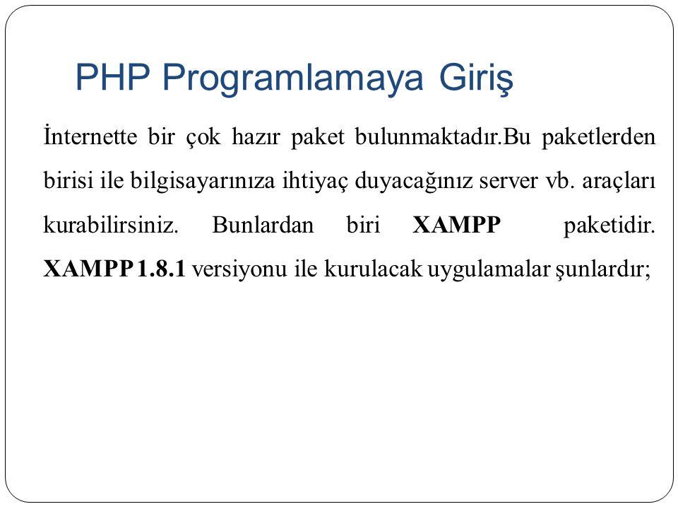 PHP Programlamaya Giriş İnternette bir çok hazır paket bulunmaktadır.Bu paketlerden birisi ile bilgisayarınıza ihtiyaç duyacağınız server vb. araçları