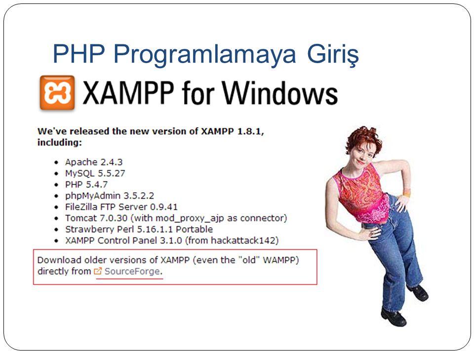 PHP Programlamaya Giriş <?php $link=mysql_connect( localhost , root , 123456 ); if (!$link){ die( Bağlanamadı: .mysql_error()); } echo Başarıyla Bağlandı ; mysql_close($link); ?>