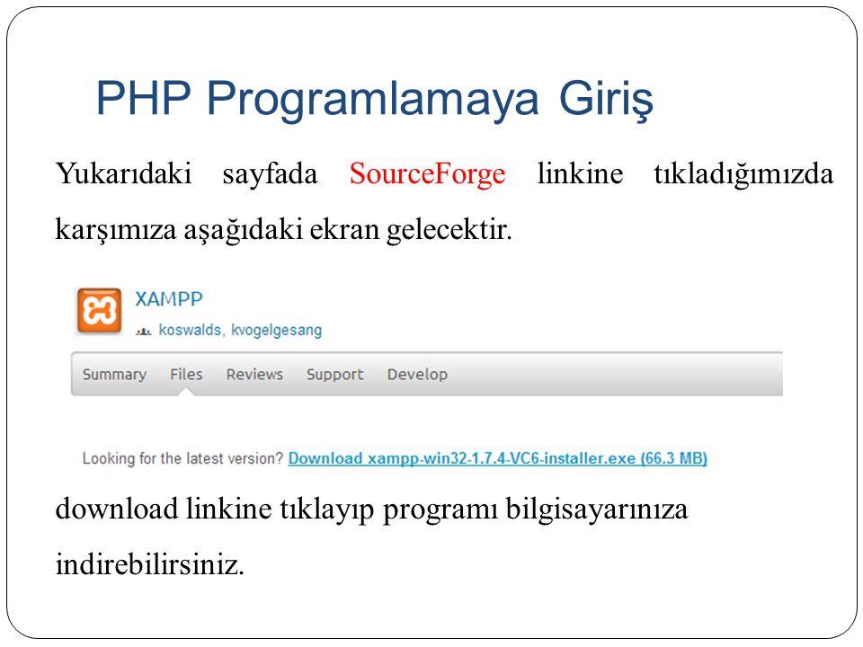 PHP Programlamaya Giriş yukarıdaki kodları aynen yazdıktan sonra Farklı kaydet seçeneği ile c:\xampp\htdocs klasörünün içine test.php adıyla kaydedelim.