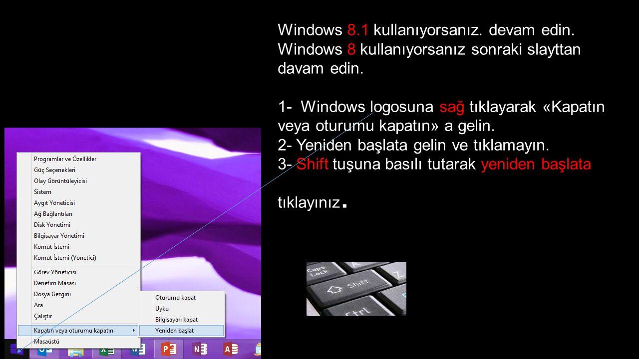 Windows 8.1 kullanıyorsanız. devam edin. Windows 8 kullanıyorsanız sonraki slayttan davam edin. 1- Windows logosuna sağ tıklayarak «Kapatın veya oturu