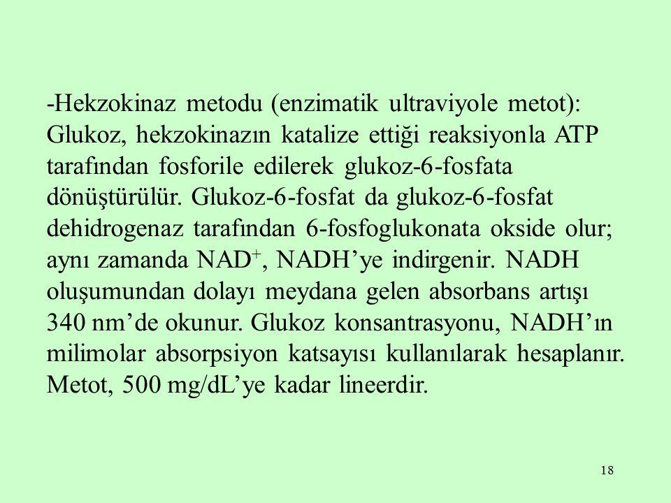 18 -Hekzokinaz metodu (enzimatik ultraviyole metot): Glukoz, hekzokinazın katalize ettiği reaksiyonla ATP tarafından fosforile edilerek glukoz-6-fosfa