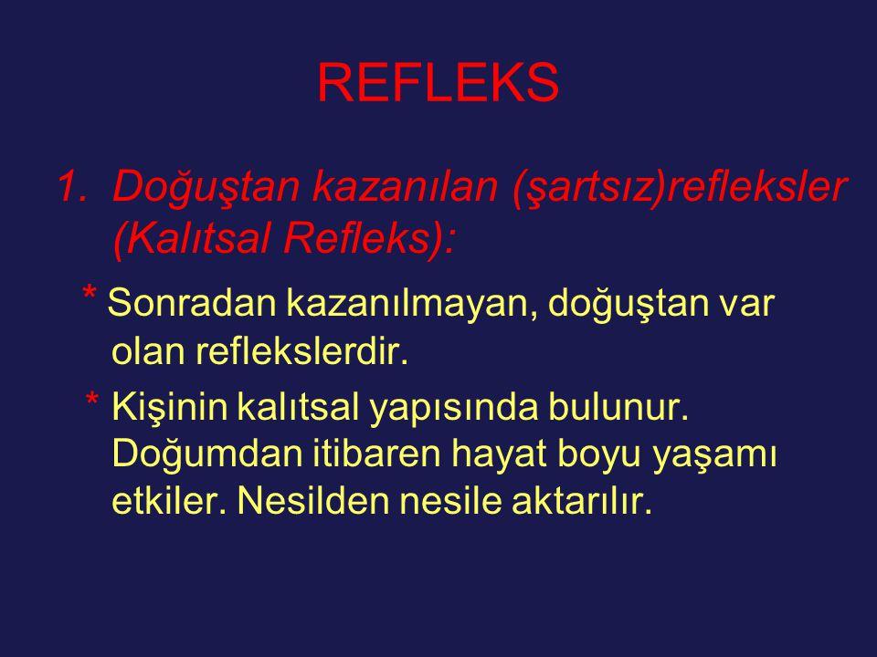 REFLEKS 1.Doğuştan kazanılan (şartsız)refleksler (Kalıtsal Refleks): * Sonradan kazanılmayan, doğuştan var olan reflekslerdir. * Kişinin kalıtsal yapı