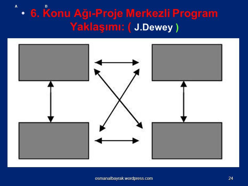 6. Konu Ağı-Proje Merkezli Program Yaklaşımı: ( J.Dewey ) A B osmanalbayrak.wordpress.com24