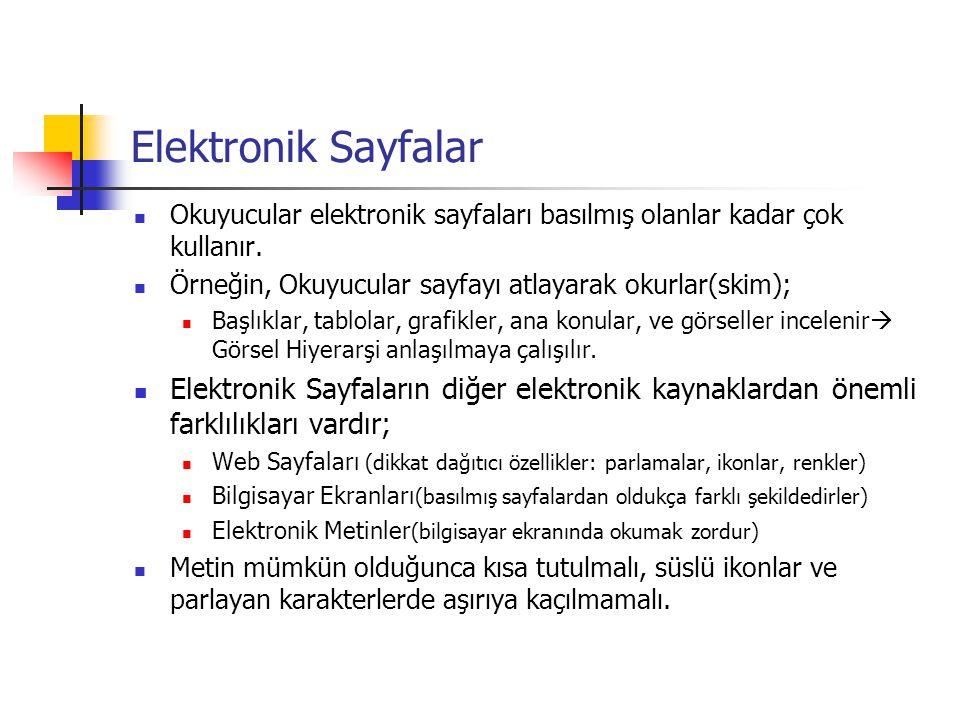 Elektronik Sayfalar Okuyucular elektronik sayfaları basılmış olanlar kadar çok kullanır. Örneğin, Okuyucular sayfayı atlayarak okurlar(skim); Başlıkla