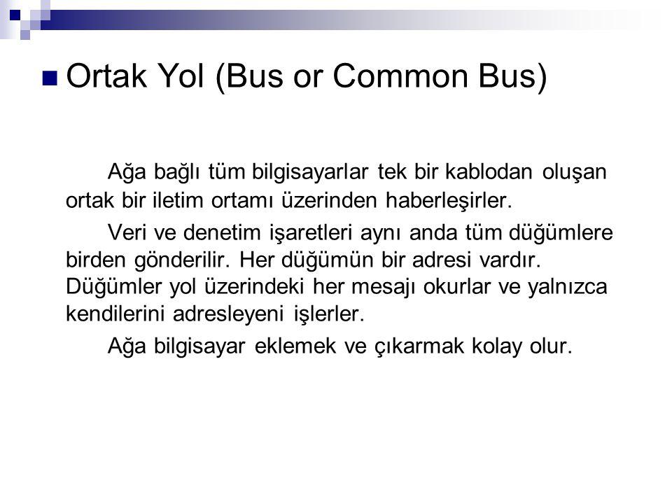 Ortak Yol (Bus or Common Bus) Ağa bağlı tüm bilgisayarlar tek bir kablodan oluşan ortak bir iletim ortamı üzerinden haberleşirler. Veri ve denetim işa
