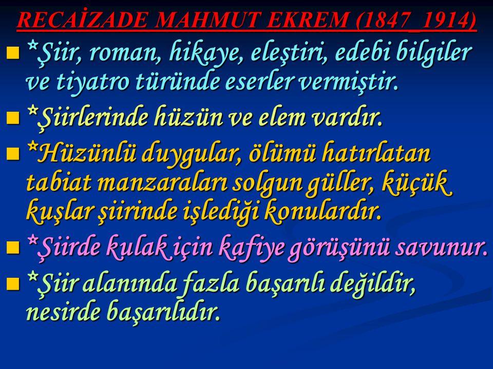 RECAİZADE MAHMUT EKREM (1847_1914) *Şiir, roman, hikaye, eleştiri, edebi bilgiler ve tiyatro türünde eserler vermiştir. *Şiir, roman, hikaye, eleştiri