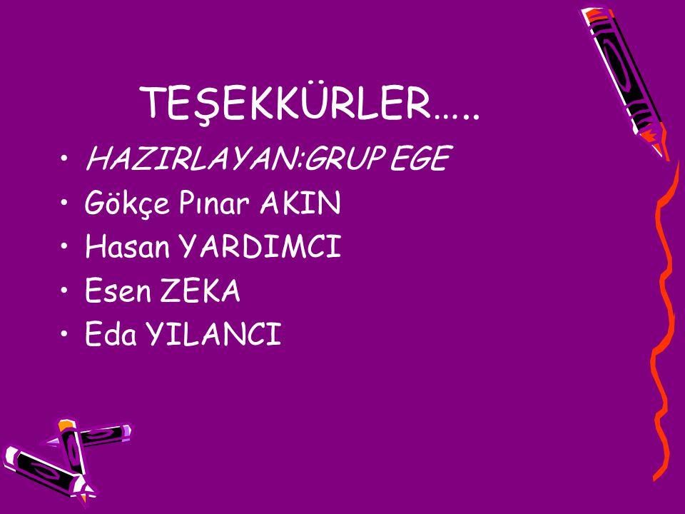 TEŞEKKÜRLER….. HAZIRLAYAN:GRUP EGE Gökçe Pınar AKIN Hasan YARDIMCI Esen ZEKA Eda YILANCI