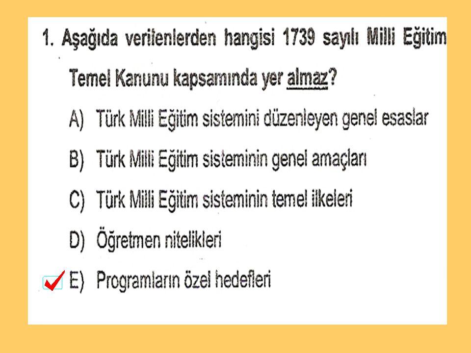 MİLLİ EĞİTİM TEŞKİLAT YASASI 1.MİLLİ EĞİTİM ŞURASI (DANIŞMA) 2.TALİM TERBİYE KURULU 3.GENEL MÜDÜRLÜKLER 4.TEFTİŞ KURULU BAŞKANLIĞI (DANIŞMA) 5.İL MİLLİ EĞİTİM MÜDÜRLÜĞÜ 6.İLÇE MİLLİ EĞİTİM MÜDÜRLÜĞÜ 7.OKUL MÜDÜRLÜĞÜ 8.ÖĞRETMENLER KURULU (DANIŞMA) 9.ZÜMRE-BÖLÜM KURULU (DANIŞMA) ZÜMRE-BÖLÜM BAŞKANI 6
