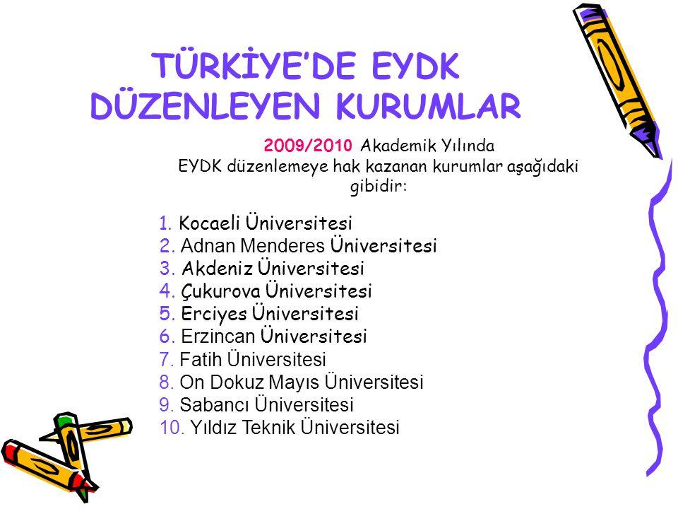 TÜRKİYE'DE EYDK DÜZENLEYEN KURUMLAR 200 9 /20 10 Akademik Yılında EYDK düzenlemeye hak kazanan kurumlar aşağıdaki gibidir: 1. Kocaeli Üniversitesi 2.