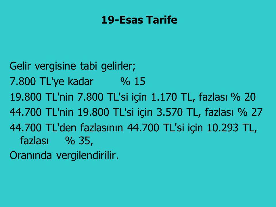 Gelir vergisine tabi gelirler; 7.800 TL'ye kadar % 15 19.800 TL'nin 7.800 TL'si için 1.170 TL, fazlası% 20 44.700 TL'nin 19.800 TL'si için 3.570 TL, f