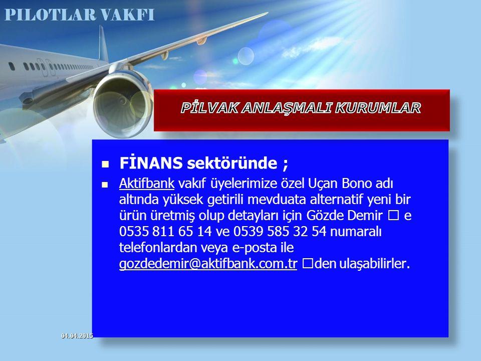 FİNANS sektöründe ; Aktifbank vakıf üyelerimize özel Uçan Bono adı altında yüksek getirili mevduata alternatif yeni bir ürün üretmiş olup detayları iç
