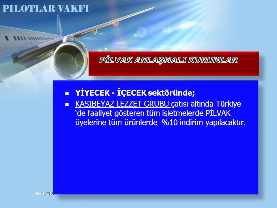 YİYECEK - İÇECEK sektöründe; KAŞIBEYAZ LEZZET GRUBU çatısı altında Türkiye 'de faaliyet gösteren tüm işletmelerde PİLVAK üyelerine tüm ürünlerde %10 i