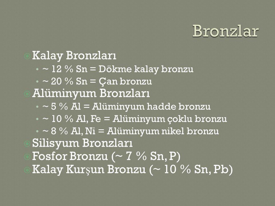  Kalay Bronzları ~ 12 % Sn = Dökme kalay bronzu ~ 20 % Sn = Çan bronzu  Alüminyum Bronzları ~ 5 % Al = Alüminyum hadde bronzu ~ 10 % Al, Fe = Alümin