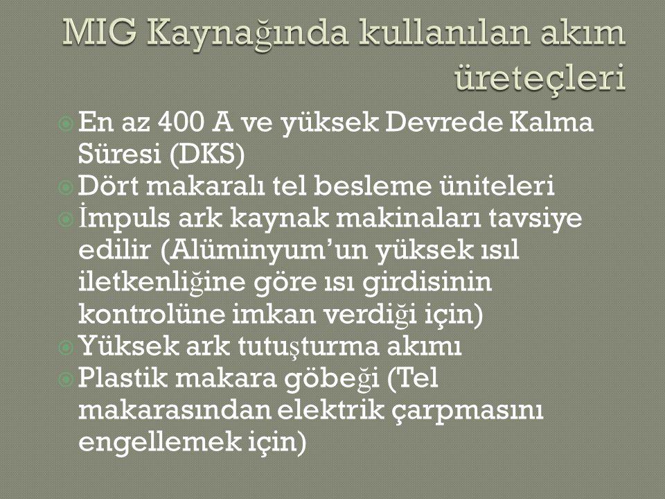  En az 400 A ve yüksek Devrede Kalma Süresi (DKS)  Dört makaralı tel besleme üniteleri  İ mpuls ark kaynak makinaları tavsiye edilir (Alüminyum'un