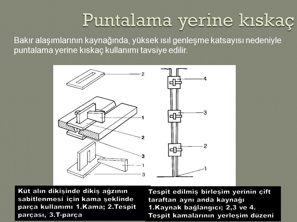 Quelle: DKI Bakır alaşımlarının kaynağında, yüksek ısıl genleşme katsayısı nedeniyle puntalama yerine kıskaç kullanımı tavsiye edilir.