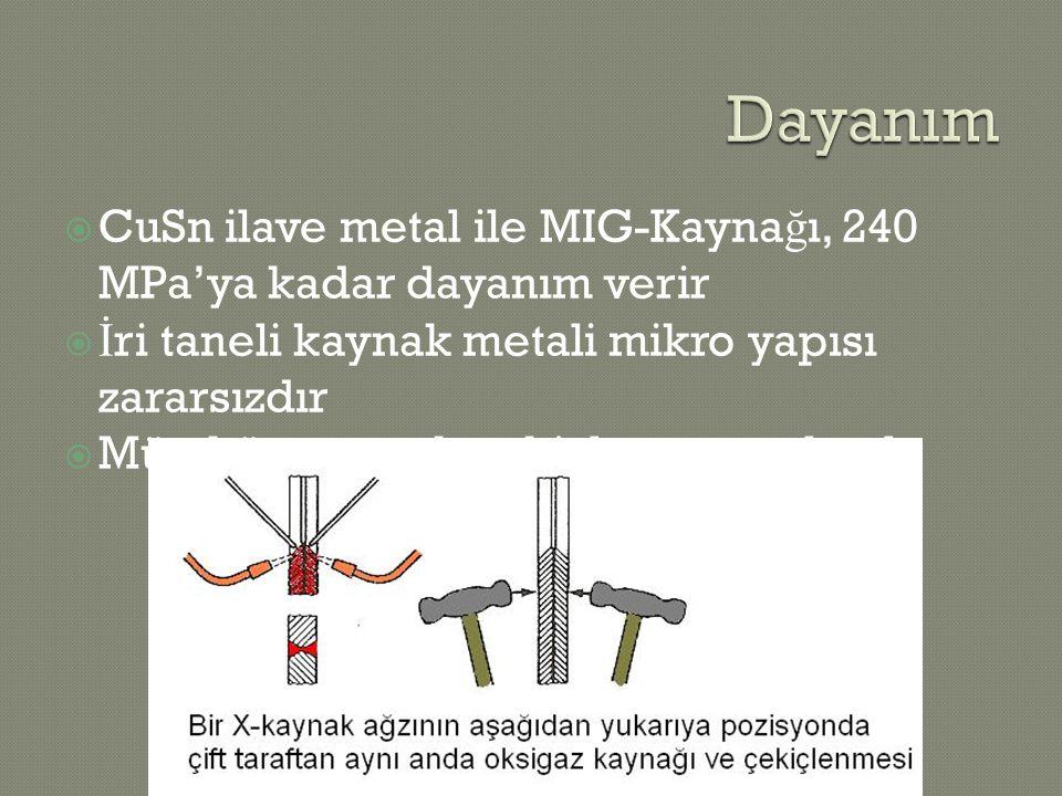  CuSn ilave metal ile MIG-Kayna ğ ı, 240 MPa'ya kadar dayanım verir  İ ri taneli kaynak metali mikro yapısı zararsızdır  Mümkünse sıcak çekiçleme y