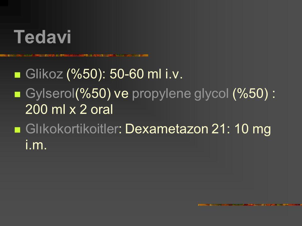 Tedavi Glikoz (%50): 50-60 ml i.v. Gylserol(%50) ve propylene glycol (%50) : 200 ml x 2 oral Glıkokortikoitler: Dexametazon 21: 10 mg i.m.