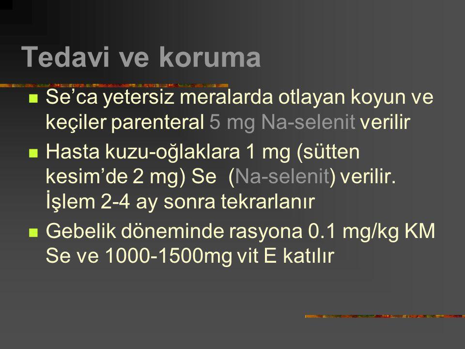 Tedavi ve koruma Se'ca yetersiz meralarda otlayan koyun ve keçiler parenteral 5 mg Na-selenit verilir Hasta kuzu-oğlaklara 1 mg (sütten kesim'de 2 mg) Se (Na-selenit) verilir.