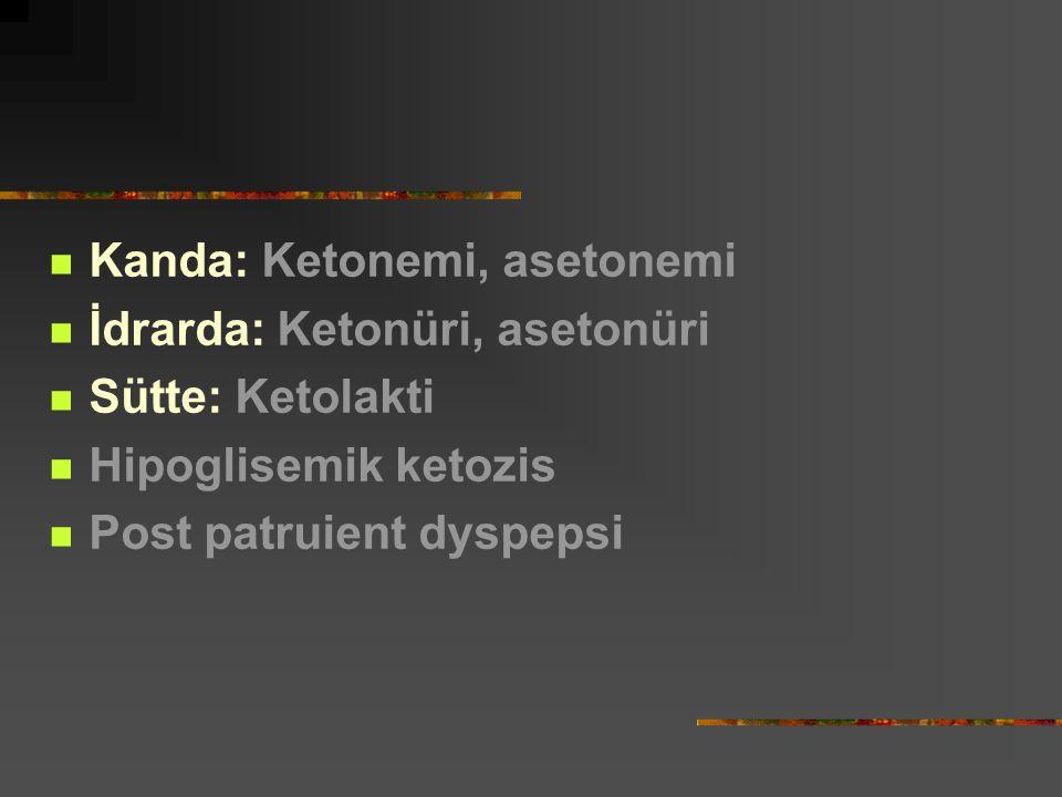 Kanda: Ketonemi, asetonemi İdrarda: Ketonüri, asetonüri Sütte: Ketolakti Hipoglisemik ketozis Post patruient dyspepsi