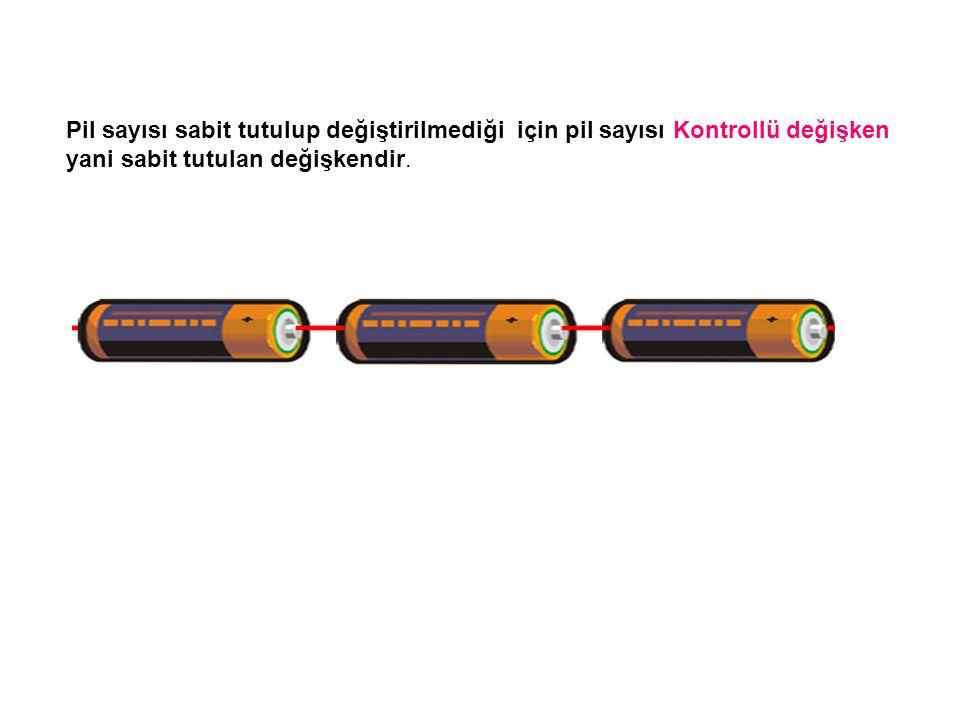 Pil sayısı sabit tutulup değiştirilmediği için pil sayısı Kontrollü değişken yani sabit tutulan değişkendir.