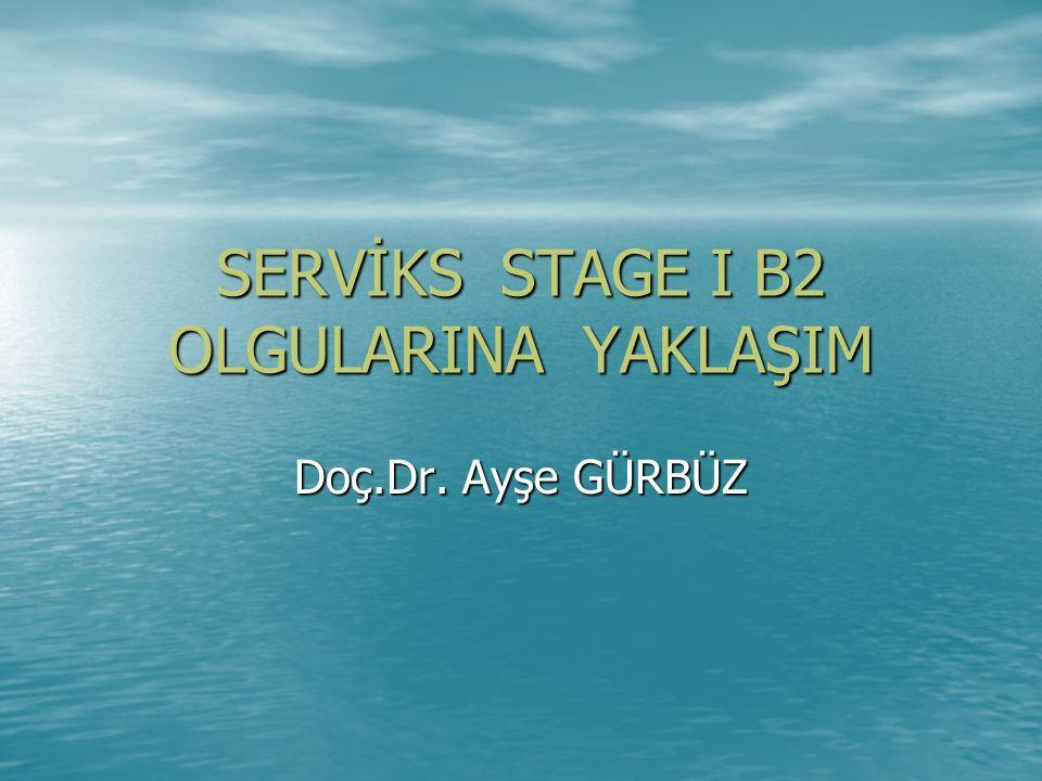 SERVİKS STAGE I B2 OLGULARINA YAKLAŞIM Doç.Dr. Ayşe GÜRBÜZ