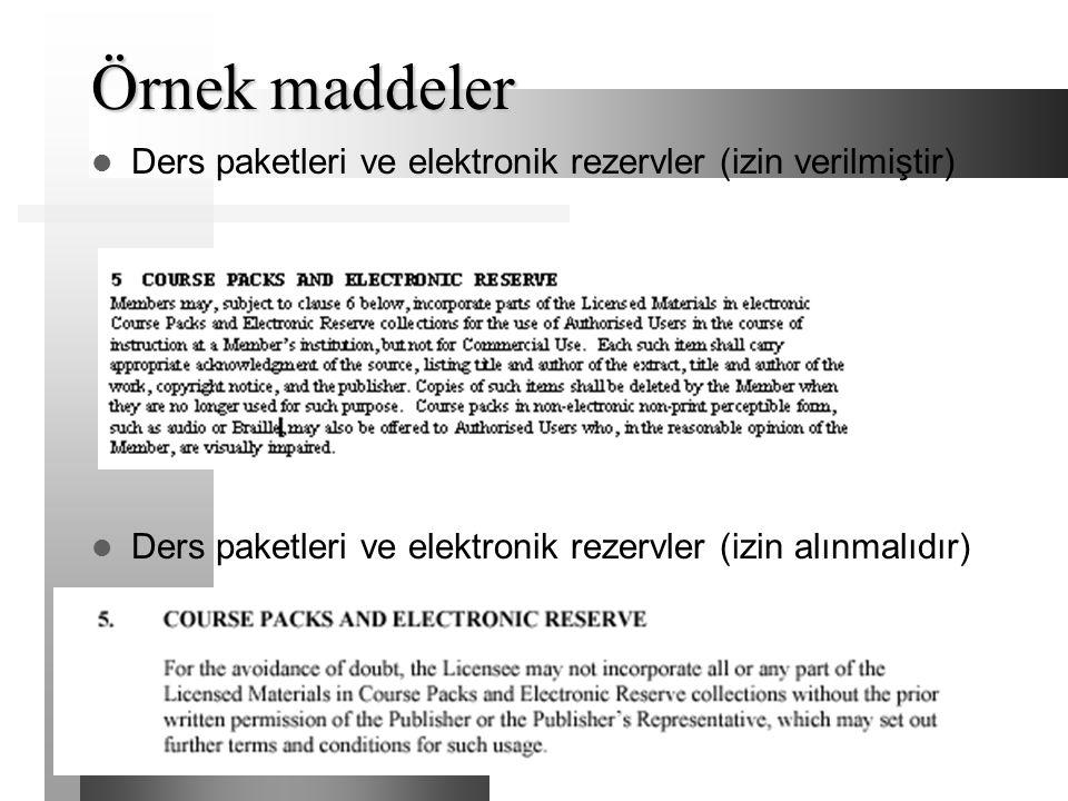 Örnek maddeler Ders paketleri ve elektronik rezervler (izin verilmiştir) Ders paketleri ve elektronik rezervler (izin alınmalıdır)
