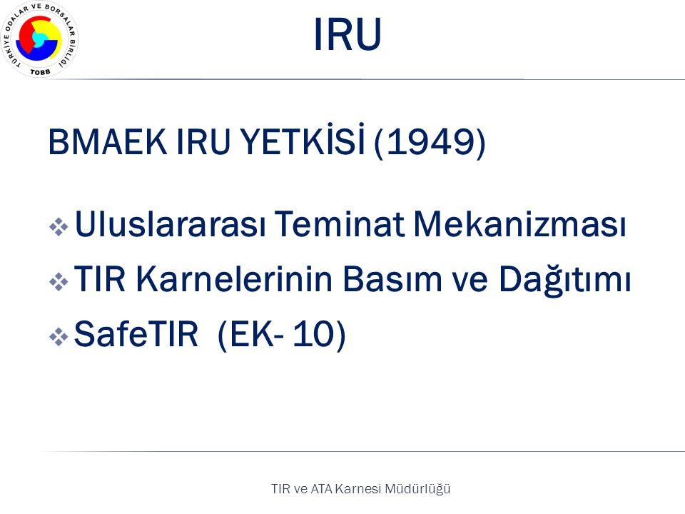 TIR ve ATA Karnesi Müdürlüğü IRU BMAEK IRU YETKİSİ (1949)  Uluslararası Teminat Mekanizması  TIR Karnelerinin Basım ve Dağıtımı  SafeTIR (EK- 10)