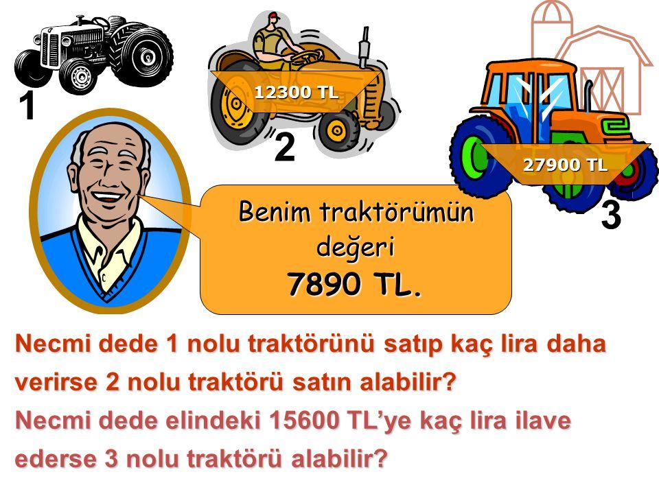 Necmi dede 1 nolu traktörünü satıp kaç lira daha verirse 2 nolu traktörü satın alabilir.