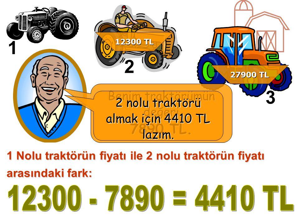1 Nolu traktörün fiyatı ile 2 nolu traktörün fiyatı arasındaki fark: 1 2 3 Benim traktörümün değeri 7890 TL.