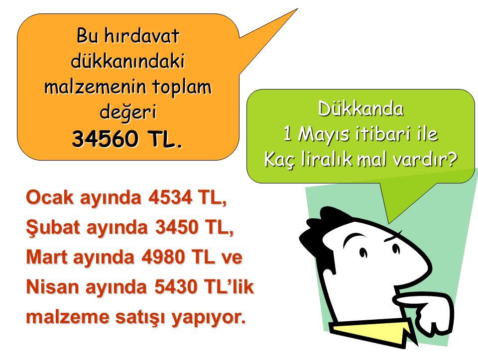 Bu hırdavat dükkanındaki malzemenin toplam değeri 34560 TL.