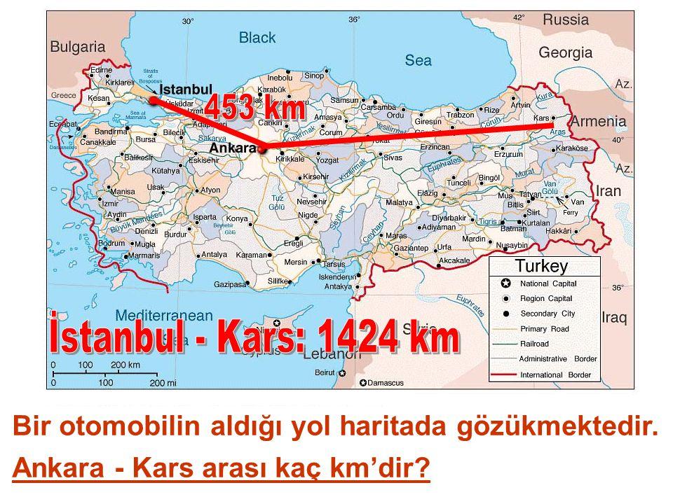 Bir otomobilin aldığı yol haritada gözükmektedir. Ankara - Kars arası kaç km'dir