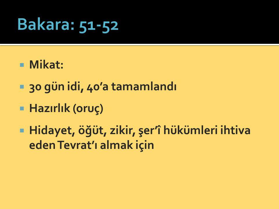  Mikat:  30 gün idi, 40'a tamamlandı  Hazırlık (oruç)  Hidayet, öğüt, zikir, şer'î hükümleri ihtiva eden Tevrat'ı almak için