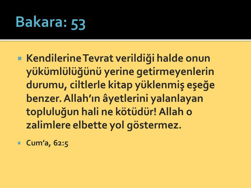  Kendilerine Tevrat verildiği halde onun yükümlülüğünü yerine getirmeyenlerin durumu, ciltlerle kitap yüklenmiş eşeğe benzer. Allah'ın âyetlerini yal