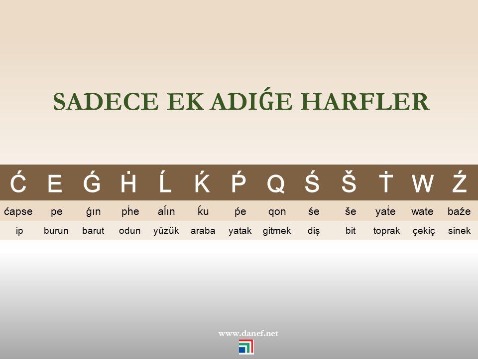 HARFXER – HARFLER - LETTERS ABCÇĆDEÉFGǴ ĞHḢIİJKḰLĹM NOÖPṔQRŚSŠŞ TṪUÜWXYZŹ ĴḞǨṨV www.danef.net Kaberdey EK harf