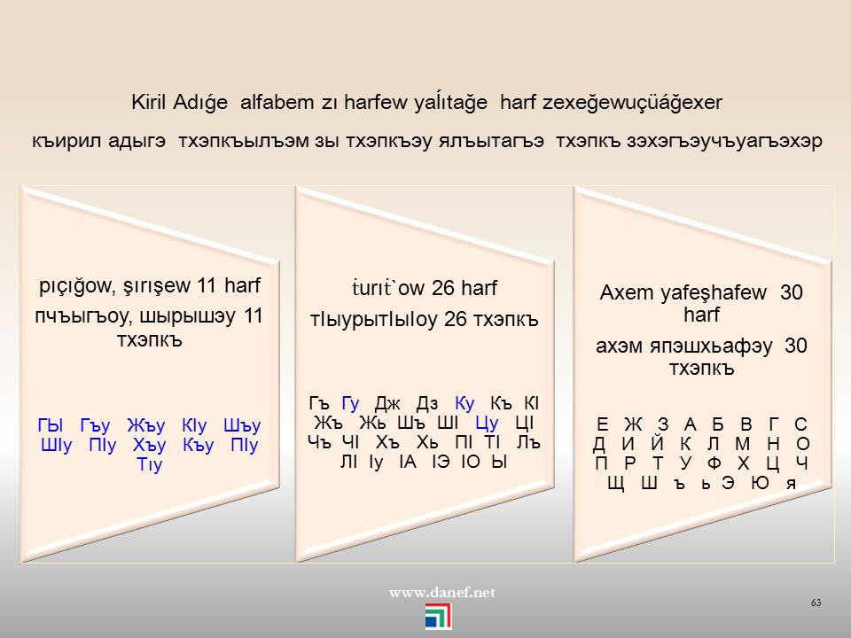 KİRİLDEKİ SORUNLAR Kiril Alfabesinde değişken harfler 62 www.danef.net KİRİLLATİN г бгыбгыbǵıbǵı гугуgugu кIкI кIакIоćaqo кIакIоćaqoćaqo ц цуцуçüçü ко
