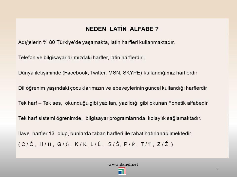 www.danef.net HEDEFLENEN SEVİYE Adıǵece bilmeyenler için başlangıç seviyesi esas alınmıştır. Öncelikle Latin harflerle okuma ve yazmayı Günlük konuşma