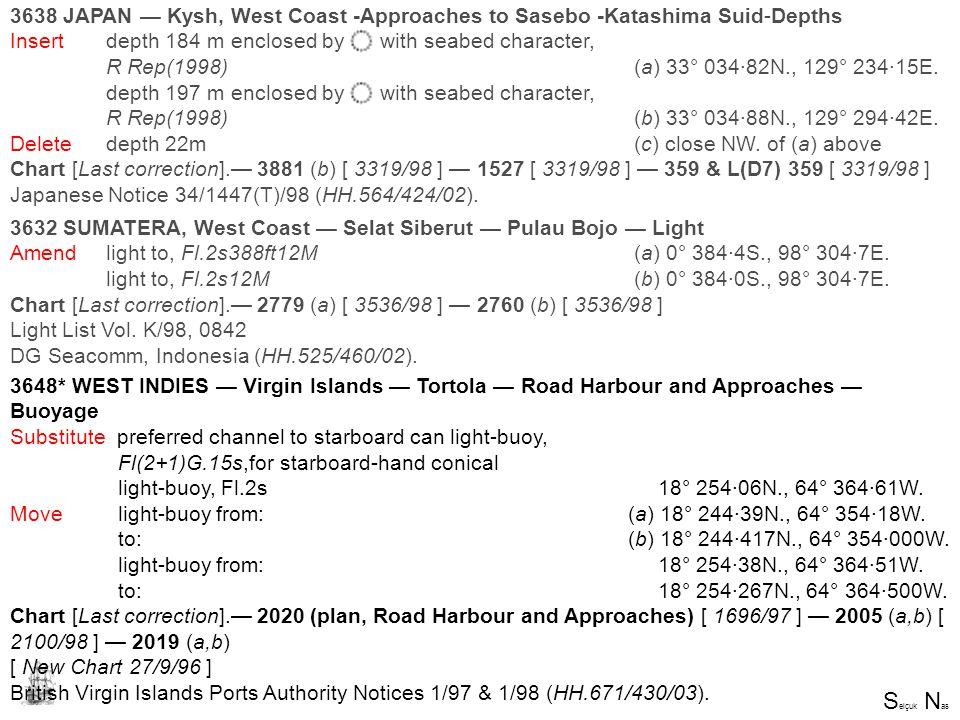 S elçuk N as SELÇUK NAS 3632 SUMATERA, West Coast — Selat Siberut — Pulau Bojo — Light Amend light to, Fl.2s388ft12M (a) 0° 384·4S., 98° 304·7E. light