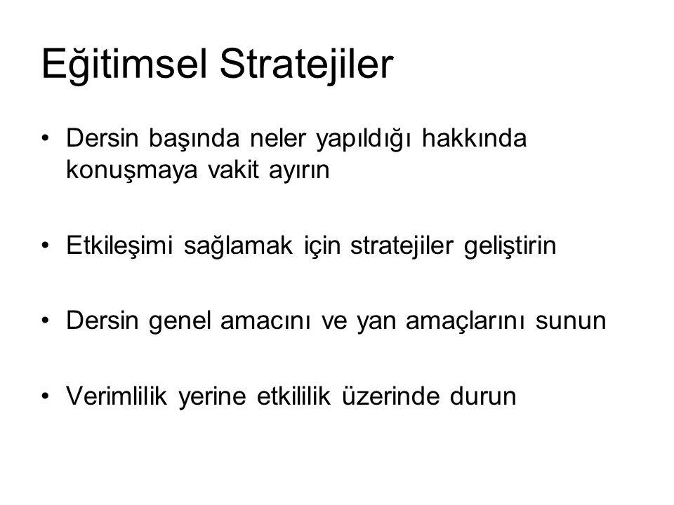 Eğitimsel Stratejiler Dersin başında neler yapıldığı hakkında konuşmaya vakit ayırın Etkileşimi sağlamak için stratejiler geliştirin Dersin genel amac
