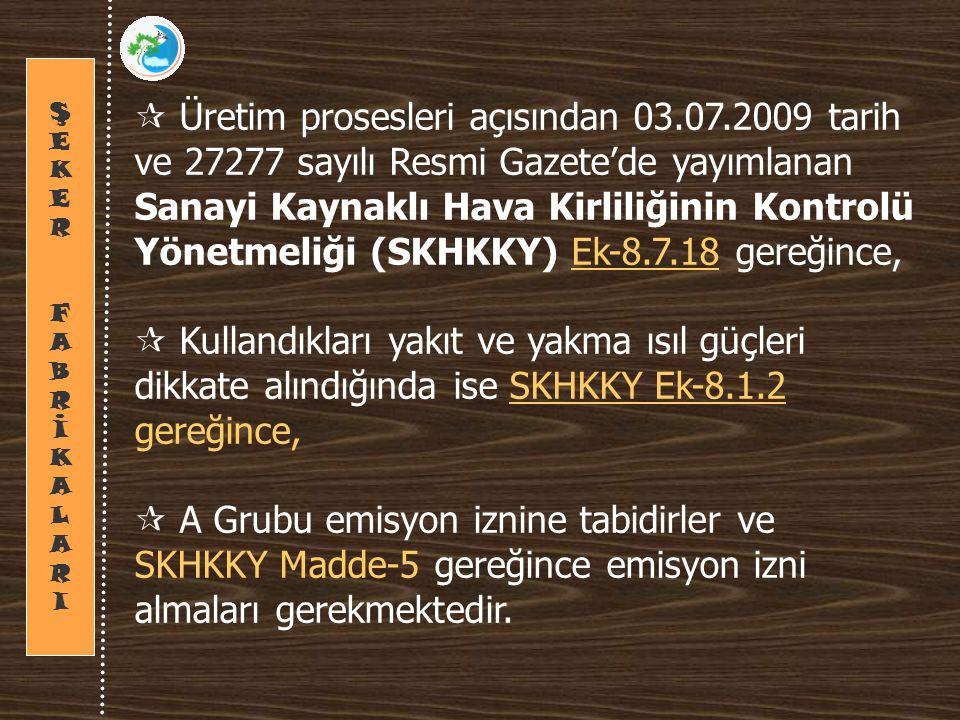  Üretim prosesleri açısından 03.07.2009 tarih ve 27277 sayılı Resmi Gazete'de yayımlanan Sanayi Kaynaklı Hava Kirliliğinin Kontrolü Yönetmeliği (SKHKKY) Ek-8.7.18 gereğince,  Kullandıkları yakıt ve yakma ısıl güçleri dikkate alındığında ise SKHKKY Ek-8.1.2 gereğince,  A Grubu emisyon iznine tabidirler ve SKHKKY Madde-5 gereğince emisyon izni almaları gerekmektedir.