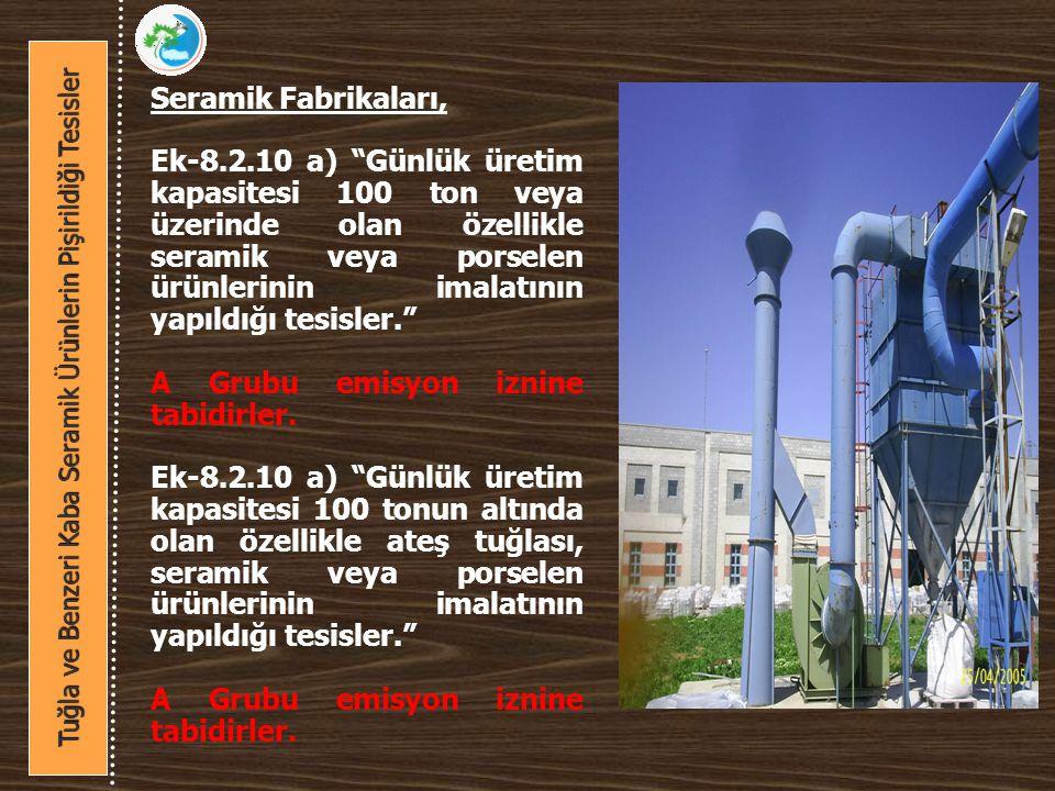Seramik Fabrikaları, Ek-8.2.10 a) Günlük üretim kapasitesi 100 ton veya üzerinde olan özellikle seramik veya porselen ürünlerinin imalatının yapıldığı tesisler. A Grubu emisyon iznine tabidirler.