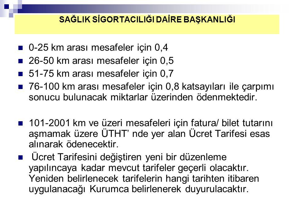 0-25 km arası mesafeler için 0,4 26-50 km arası mesafeler için 0,5 51-75 km arası mesafeler için 0,7 76-100 km arası mesafeler için 0,8 katsayıları il