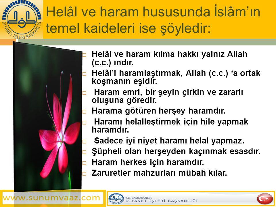 Helâl ve haram hususunda İslâm'ın temel kaideleri ise şöyledir:  Helâl ve haram kılma hakkı yalnız Allah (c.c.) ındır.  Helâl'i haramlaştırmak, Alla