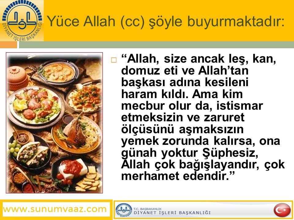 """Yüce Allah (cc) şöyle buyurmaktadır:  """"Allah, size ancak leş, kan, domuz eti ve Allah'tan başkası adına kesileni haram kıldı. Ama kim mecbur olur da,"""