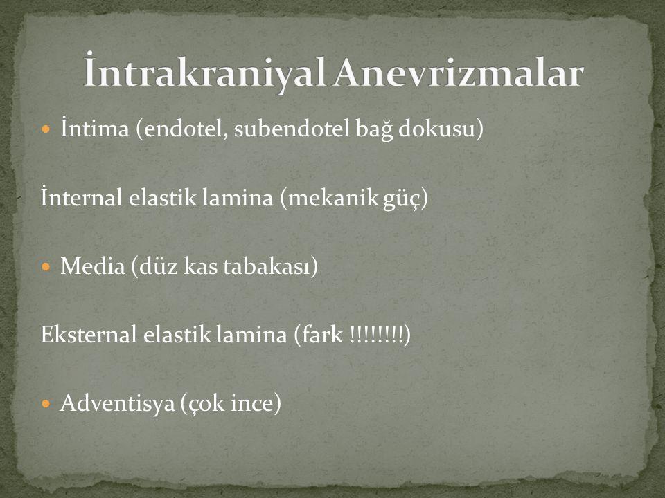 Sakküler anevrizma Çatallanma Akım yönünde (eğer çatallanma bölgesinde değilse) Berry anevrizma (dut)