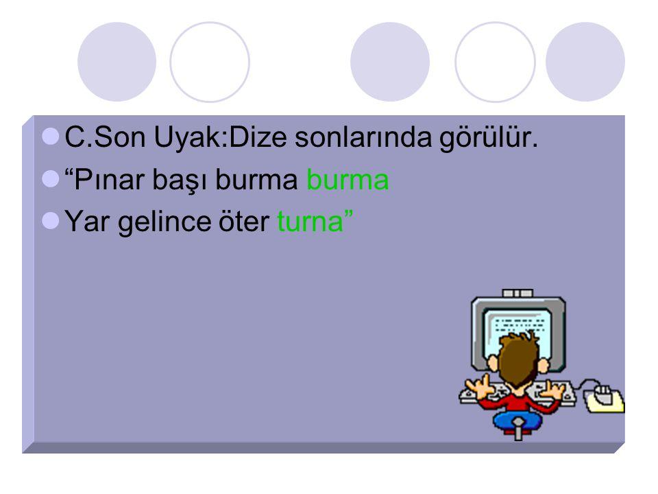 """C.Son Uyak:Dize sonlarında görülür. """"Pınar başı burma burma Yar gelince öter turna"""""""